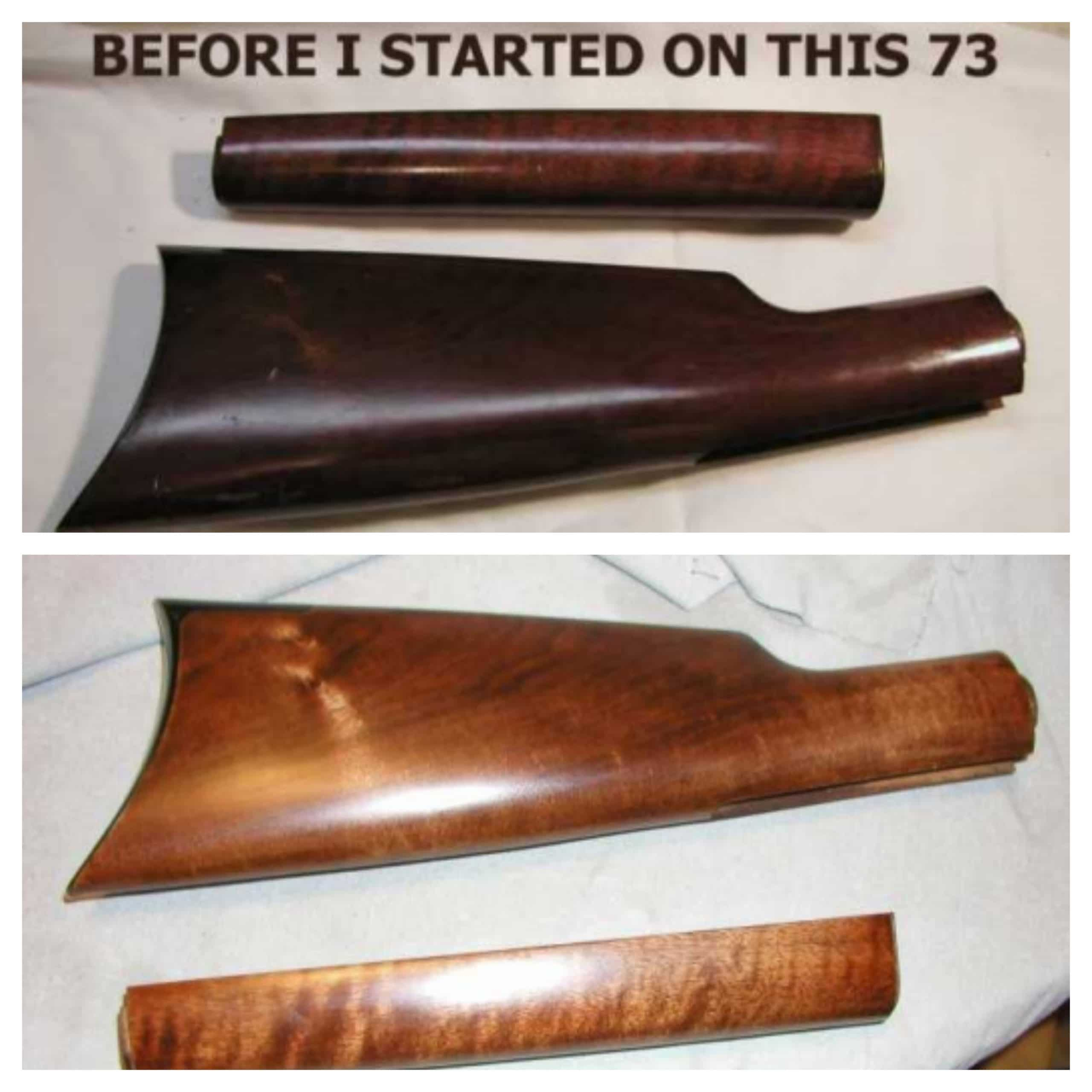 1873 Uberti Shoulder Stock Refinishing before and after
